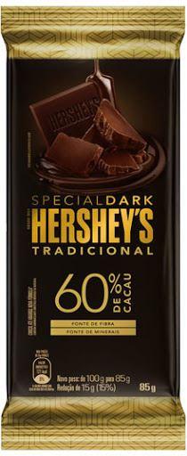 BARRA HERSHEY S  DARK 60% TRAD 85G